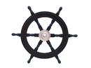 Handcrafted Model Ships SW24CH-Black Deluxe Class Wood and Chrome Pirate Ship Steering Wheel 24