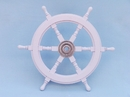 Handcrafted Model Ships SW24CH-White Deluxe Class White Wood and Chrome Ship Steering Wheel 24