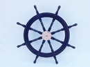 Handcrafted Model Ships SW36CH-D blue Deluxe Class Dark Blue Wood and Chrome Ship Steering Wheel 36