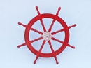 Handcrafted Model Ships SW36CH-D Red Deluxe Class Dark Red Wood and Chrome Ship Steering Wheel 36