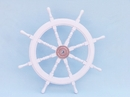 Handcrafted Model Ships SW36CH-White Deluxe Class White Wood and Chrome Ship Steering Wheel 36