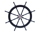 Handcrafted Model Ships SW48CH-Black Deluxe Class Wood and Chrome Pirate Ship Steering Wheel 48