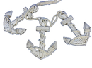 Handcrafted Model Ships Triple-Anchor-White Wooden Rustic Whitewashed Decorative Triple Anchor Set 7