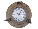 Handcrafted Model Ships WC-1444-10-AN Antique Brass Decorative Ship Porthole Clock 8