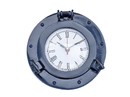 Handcrafted Model Ships WC-1444-10-Blue Brass Deluxe Class Porthole Clock 8