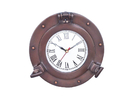 Handcrafted Model Ships WC-1444-10-BZ Bronzed Deluxe Class Porthole Clock 8