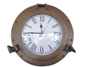Handcrafted Model Ships WC-1445-12-AN Antique Brass Decorative Ship Porthole Clock 12