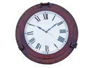 Handcrafted Model Ships WC-1447-20-AC Antique Copper Deluxe Class Porthole Clock 20