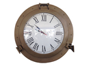 Handcrafted Model Ships WC-1448-17-AN Antique Brass Decorative Ship Porthole Clock 17
