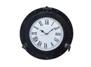 Handcrafted Model Ships WC-1448-17-Black Oil Rubbed Bronze Deluxe Class Porthole Clock 17