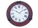 Handcrafted Model Ships WC-1449-24-AC Antique Copper Decorative Ship Porthole Clock 24