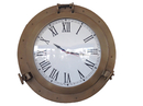Handcrafted Model Ships WC-1449-24-AN Antique Brass Decorative Ship Porthole Clock 24