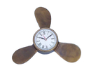 Handcrafted Model Ships WC-1520-AN Antique Brass Decorative Ships Propeller Clock 12