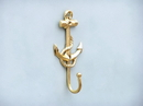 Handcrafted Model Ships WH-0115-BR Gold Finish Anchor And Rope With Hook 7&Quot;
