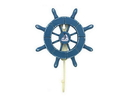 Handcrafted Model Ships Wheel-6-100-Sailboat Rustic All Light Blue Decorative Ship Wheel With Sailboat And Hook 8&Quot;