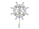 Handcrafted Model Ships Wheel-6-102-Sailboat Rustic All White Decorative Ship Wheel With Sailboat And Hook 8&Quot;