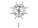 Handcrafted Model Ships Wheel-6-102-Seagull Rustic All White Decorative Ship Wheel With Seagull And Hook 8&Quot;