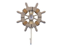 Handcrafted Model Ships Wheel-6-103-Sailboat Rustic Decorative Ship Wheel With Sailboat And Hook 8&Quot;