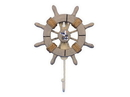 Handcrafted Model Ships Wheel-6-103-Seagull Rustic Decorative Ship Wheel With Seagull And Hook 8&Quot;