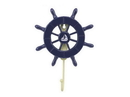 Handcrafted Model Ships Wheel-6-104-Sailboat Dark Blue Decorative Ship Wheel With Sailboat And Hook 8&Quot;