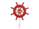 Handcrafted Model Ships Wheel-6-106-Sailboat Red Decorative Ship Wheel With Sailboat And Hook 8&Quot;