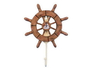 Handcrafted Model Ships Wheel-6-107-Sailboat Rustic Wood Finish Decorative Ship Wheel With Sailboat And Hook 8&Quot;