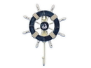 Handcrafted Model Ships Wheel-6-108-Sailboat Rustic Dark Blue And White Decorative Ship Wheel With Sailboat And Hook 8&Quot;
