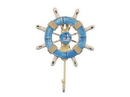 Handcrafted Model Ships Wheel-6-109-Sailboat Rustic Light Blue And White Decorative Ship Wheel With Sailboat And Hook 8&Quot;
