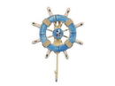 Handcrafted Model Ships Wheel-6-109-Seagull Rustic Light Blue And White Decorative Ship Wheel With Seagull And Hook 8&Quot;