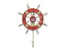 Handcrafted Model Ships Wheel-6-110-Sailboat Rustic Red And White Decorative Ship Wheel With Sailboat And Hook 8&Quot;