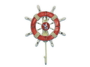 Handcrafted Model Ships Wheel-6-110-Seagull Rustic Red And White Decorative Ship Wheel With Seagull And Hook 8&Quot;