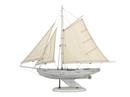 Handcrafted Model Ships WW-BS-30 Wooden Rustic Whitewashed Bermuda Sloop Model Sailboat 30