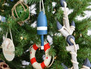 Handcrafted Model Ships Y-40991-BB6-XMASS Wooden Blue Lobster Trap Buoy Christmas Tree Ornament