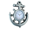 Handcrafted Model Ships Y-67039-2 Silver Ship Wheel And Anchor Wall Clock 15&Quot;
