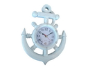 Handcrafted Model Ships Y-67039-3 Whitewashed Ship Wheel And Anchor Wall Clock 15&Quot;