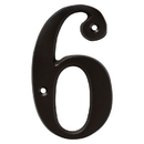 Harney Hardware 38610 4 In. House Number 6, Solid Brass