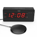 TimeShaker Wow by iLuv - Loud Dual Alarm Clock with Super Vibrating Bed Shaker, Alert Light, Panic Sound Adjuster