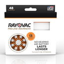 Rayovac Proline Advanced Mercury Free Hearing Aid Batteries 48/Box Size 13