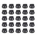 Muka 100PCS Black Double Holes Bean Cord Lock Stoppers Spring Toggles, 5MM Hole Diameter