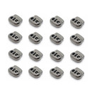 Muka 100PCS Metal Dual-Hole Toggles, Elastic Cord Lock Stoppers for Paracord, Drawstrings, 4mm Hole