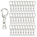 Muka 100PCS Key Ring with Chain, Split D-Snap Hooks Clips, Metal Keychain Parts for DIY Crafts