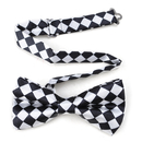 Wholesale TopTie Mens Black & White Checkerboard Pre-Tied Satin Formal Bow Tie