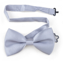TopTie Mens Formal Solid Silver Satin Bow Tie