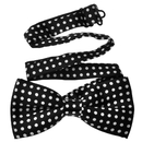 Wholesale TopTie Unisex Fashion Black With White Polka Dots Bow tie