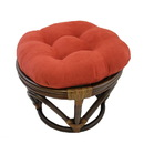 International Caravan Rattan Ottoman with Micro Suede Cushion