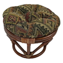 International Caravan Rattan Footsool with Tapestry Cushion