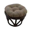 International Caravan Rattan Footstool with Twill Cushion