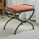 International Caravan Iron Upholstered Vanity Stool
