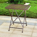 International Caravan 3420-TBL-HD-BZ Mandalay Outdoor Iron 28-inch Folding Square Bistro Table - Hammered Bronze