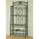 International Caravan Iron 5-Tier Bakers/Wine Rack-Bronze/Verdi Green